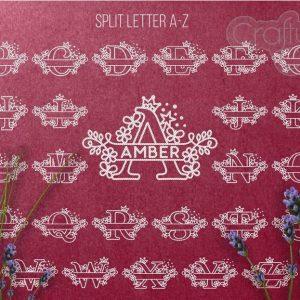 Babyname Split Monogram - Stars and Crown