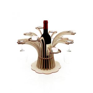 Wine Holder Bottle, Glass, and Candle