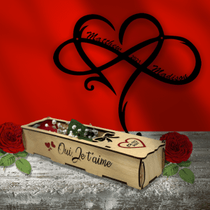 Personalized Rose Box & Infinity Heart Combo Pack
