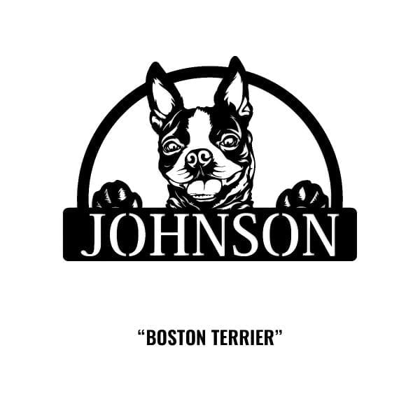 Boston Terrier Dog Name Sign